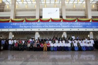 Representatives and signatories in Naypyidaw for the signing ceremony of the Nationwide Ceasefire Agreement, 15 October. (PHOTO: DVB)