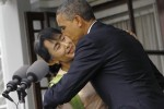 US President Barack Obama kisses Burma's opposition leader Aung San Suu Kyi after their meeting at her residence in Rangoon on 19 November 2012.   (PHOTO: REUTERS)