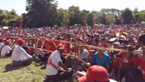 Locals gathered in Thandwe, Arakan State, to receive the NLD leader. (PHOTO: DVB)
