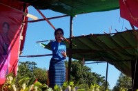 Suu Kyi addressed NLD supporters in Thandwe on 17 October. (PHOTO: DVB)