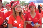 Young supporters of the National League for Democracy pictured at a rally at Rangoon's Myo Oo pagoda ground on Sunday 1 November. (PHOTO:DVB)