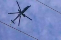 A Burmese army helicopter conducting airstrikes over Wanhai, according to SSA-N.