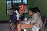 A Kachin woman in traditional dress at a polling station on Sunday. (PHOTO:DVB)