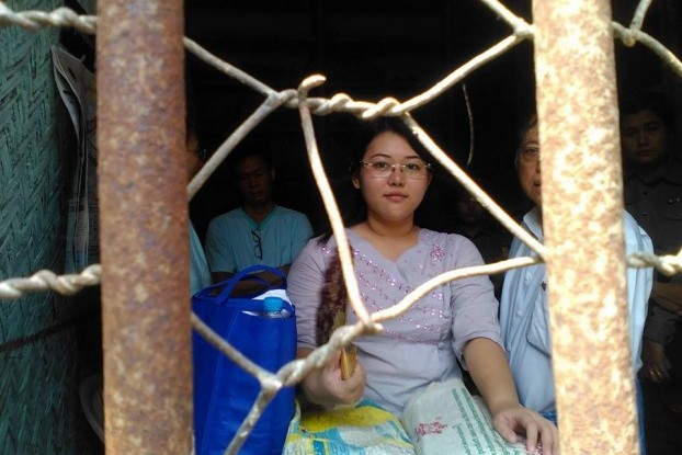 Chaw Sandi Htun at a court appearance on 27 October. She was one of several Facebook users found guilty of defamation under the Telecommunications Law in recent years. (Photo: Lin Satt Aung)