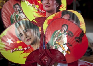 Aung San Suu Kyi merchandise for sale outside the National League for Democracy headquarters in Rangoon, 13 November 2015. (PHOTO: DVB)