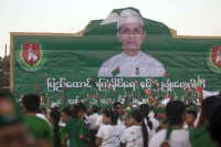 A giant-sized picture of President Thein Sein provided the backdrop to Friday's USDP rally in east Rangoon. (PHOTO: DVB)