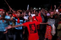 NLD supporters, pictured celebrating prematurely in Rangoon on 9 November 2015. (PHOTO: Reuters)
