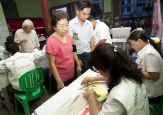 Voting began early on Sunday morning at a polling station in Rangoon. (PHOTO: DVB)