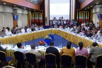 Representatives the military, ethnic groups and political parties attended a 24 November meeting at the MPC. (PHOTO: DVB)