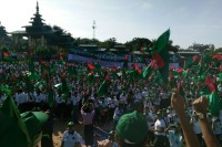 USDP supporters in Thuwunna, Rangoon. (PHOTO: DVB)
