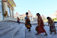 Parliamentarians walk the steps to the legislature ahead of a sitting of Union Parliament in Naypyidaw, 24 November 2015. (PHOTO:DVB)