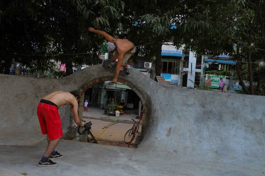 Local and international skaters try out the park on opening day. (PHOTO: Pushing Myanmar)