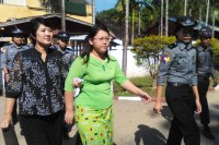 Chaw Sandi Htun outside the Maubin Township Court. (PHOTO: DVB)