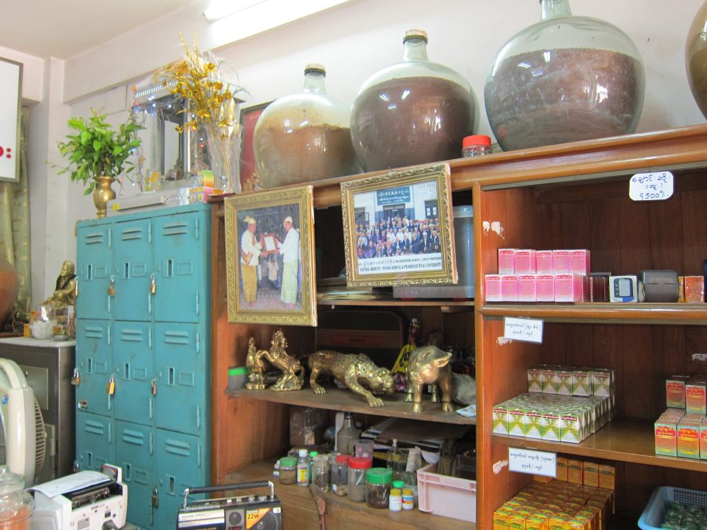 Supplies in the shelves of the U Bo Gyi traditional medicine shop in Rangoon. PHOTO: Annabelle Droulers/DVB