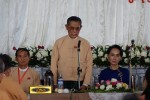 Suu Kyi and Tin Oo addressing successful NLD candidates in Naypyidaw. (PHOTO: NLD)