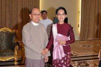 President Thein Sein pictured with with Aung San Suu Kyi  shortly after the NLD's November 2015 election victory. (PHOTO: DVB)