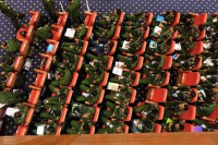 Army representatives pictured at the ongoing Union Peace Conference in Naypyidaw. (PHOTO: Kyaw Zayar Win/DVB)