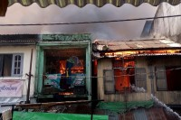 Fire guts a shop in Sanchaung, central Rangoon. (PHOTO: DVB)