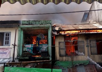 Fire guts a shop in Sanchaung, central Rangoon. (PHOTO: DVB)