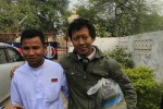 Student activist Naing Ye Wai (L),  leaving prison in Mandalay on Friday. PHOTO:DVB
