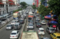 Traffic grinds to a halt in downtown Rangoon. (PHOTO: Hkun Lat/Myanmar Now)