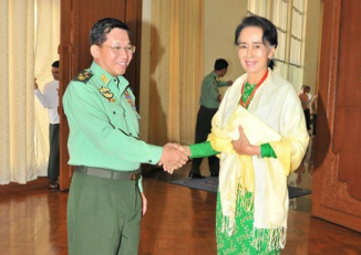 NLD leader Aung San Suu Kyi and armed forces Commander-in-Chief Min Aung Hlaing pictured together in Naypyidaw on 26 January 2016. (Photo: Supplied)