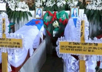 The funeral of the schoolteachers, brutally murdered in northern Shan State, was held in Myitkyina in January 2015. (Photo: DVB)