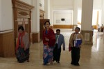 Aung San Suu Kyi, pictured with aides in Naypyidaw in January 2016. (PHOTO: DVB)