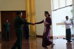 Aung San Suu Kyi shakes hands with army chief Min Aung Hlaing in Naypyidaw 12 December 2015. (PHOTO:DVB)