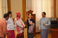 Aye Thar Aung and Mahn Win Khaing Than pictured alongside Aung San Suu Kyi and former speaker Shwe Mann: (PHOTO: Facebook/Shwe Mann)
