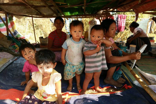 The children of squatters whose homes were destroyed at Pyinmabin, Rangoon. (PHOTO:DVB)