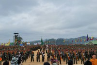 Soliders in formation at Shan State National Day, 7 February 2016. (PHOTO:DVB)