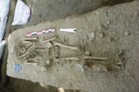A Bronze Age skeleton uncovered by archaeologists in Sagaing Division. (PHOTO:Daw Thu Thu Win/Mandalay Department of Archaeology.)