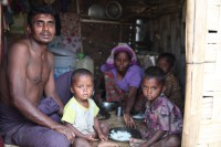 Win Naing, a 43-year-old Rohingya, lives in Thet Kel Pyin IDP camp in Rakhine State with his wife and three young children. (PHOTO: Thin Lei Win/Myanmar Now)