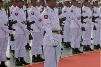 File photo of Burmese army soldiers at a reception in Naypyidaw.