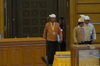 President-elect Htin Kyaw enters parliament on 21 March 2016. (PHOTO: DVB)