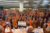 Buddhist monks at Thailand's Mahachulalongkorn Rajavidyalaya University welcome the leader of Burma's controversial Buddhist nationalist organisation Ma Ba Tha during a visit in February 2016. (Photo: Somrit Luechai / Facebook)