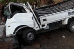 The white canter car that went off the road in Mon State on 12 April 2016, killing nine of 20 people on board (Photo: Ministry of Information)