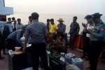 Police interrogate suspected pirates aboard the Loi Sam Sip. (Photo: Myanmar Police Force / Facebook)