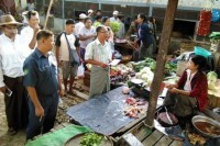Inspectors speak to chicken vendors in Kalewa, Sagaing Division, about the risks of bird flu on 26 April 2016. (Photo: DVB)