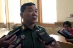 Brigadier General Maung Maung speaks to reporters on 5 April 2016 following a lower house vote on a bill that would give NLD leader Aung San Suu Kyi a powerful new position in government (Photo: DVB)