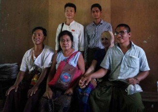 Ashin Gambira, far right, with family and supporters before his sentencing hearing on 26 April 2016. (Photo: Ma Lwin / Facebook)