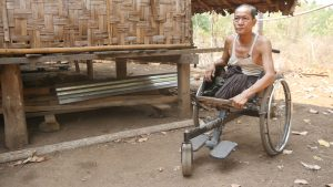 Kyar Khin, a farmer in Aung Chan Thar, a village in Kyaukkyi Township, Pegu Division, lost both his legs following a landmine injury. (Photo: David Doyle / Myanmar Now)