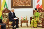 Canadian Foreign Minister Stéphane Dion (left) meets with his Burmese counterpart Aung San Suu Kyi in Naypyidaw on 7 April 2016. (Photo: Embassy of Canada to Burma - Myanmar)