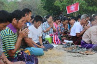 Villagers in a recent protest against the damming of the Salween and the proposed cement factory in Mi Karen village. (Photo: KESAN).