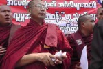 Nationalist Buddhist monks address a protest held in front of the US embassy in Rangoon on 28 April 2016. (Photo: Phyo Thiha Cho / Myanmar Now)
