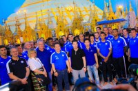 Members of the Leicester City football team pose for a photo in front of Rangoon's Shwedagon Pagoda on 22 May 2016. (Photo: DVB)