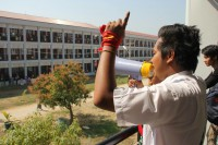 A student leader at Mandalay's Yadanabon University gives a speech during a protest against the Education Law in January 2015. (Photo: Zaw Zaw / Myanmar Now)