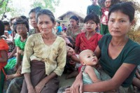 Arakanese villagers take shelter in the village of Sitaung, Buthidaung Township, after fleeing their homes to escape fighting between government troops and the Arakan Army that began on 17 April 2016. (Photo: DVB)