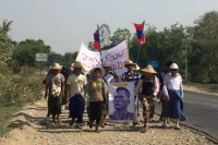 Former workers from a wood-processing factory in Sagaing march toward Naypyidaw. (Photo: DVB)